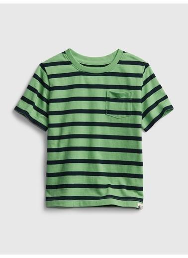 Gap Organik Pamuklu Çizgili T-Shirt Yeşil